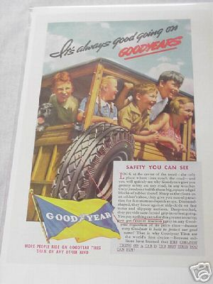 1937 Goodyear Tires Color Ad It's always Good Going