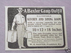 1897 Baxter Camp Outfit Ad W. E. Baxter, Frankfort, Ky.