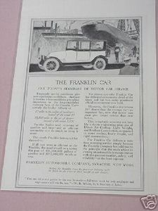 1918 Ad The Franklin Car Franklin Automobile Company