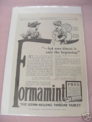 1915 Formamint Germ-Killing Throat Tablets Ad