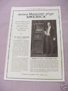 1917 Ad The New Edison Phonograph Arthur Middleton