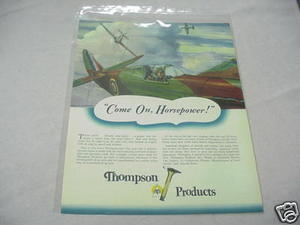1941 Ad Thompson Products, Inc. Military Plane Valves