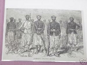 1889 Africa Illustrated Page Gordon's Infantry Escort