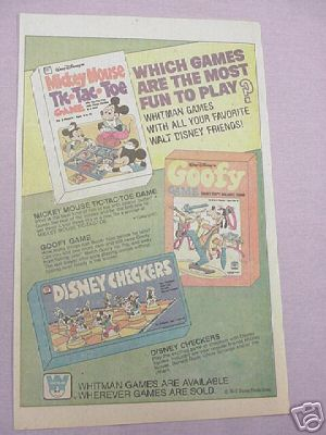 1978 Whitman Disney Games Ad Checkers Goofy Tic-Tac-Toe