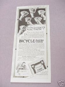 1919 Bicycle Playing Cards Ad Are You Learning Auction?