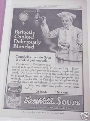 1914 Campbell's Soup Ad 21 Kinds 10 Cents a Can