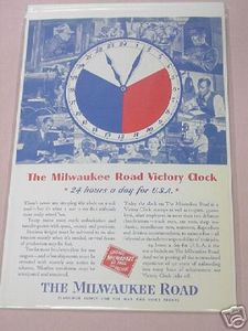 1943 The Milwaukee Road WWII Railroad Ad Victory Clock