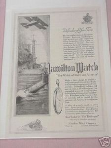 1918 Hamilton Watch World War I Ad WWI