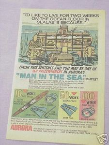 1970 Aurora Models Kit Ad U.S. Navy Sealab III Kit