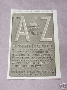 1901 Ad The Smith Premier Typewriter Co. Syracuse N. Y.