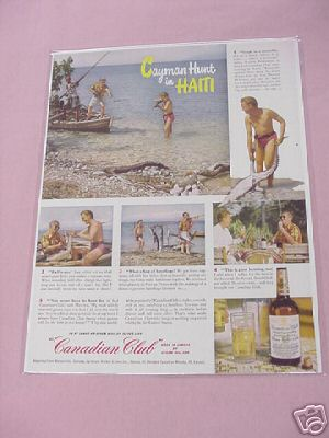 1950 Canadian Club Whisky Ad Cayman Hunt in Haiti