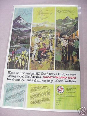 1965 Great Northern Railway Color Ad Vacationland, USA