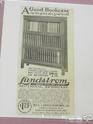 1915 Ad Lundstrom Sectional Bookcase Little Falls, NY