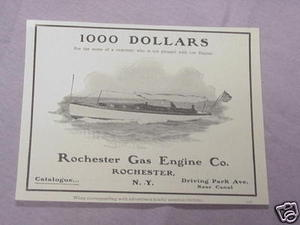 1897 Rochester Gas Engine Co. Ad For Boats