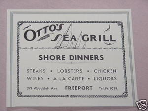 1938 Ad Otto's Sea Grill Freeport, Long Island