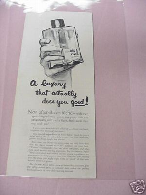 1954 Williams Aqua Velva After Shave Lotion Ad