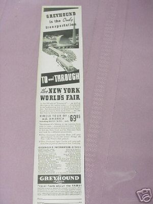 Greyhound 1939 New York Worlds Fair Ad
