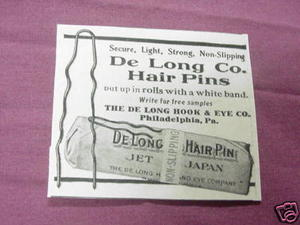 1909 Ad De Long Co. Hair Pins, Philadelphia, Pa.