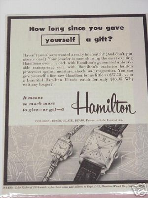 1954 Hamilton Watch Ad Featuring Collen & Blair Styles