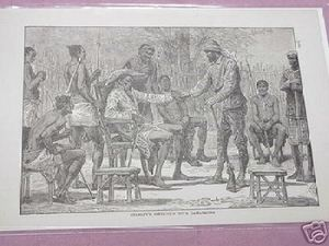 1889 Africa Illustrated Page Stanley With Gamankono