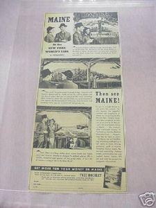 1939 Maine Pavillion Ad New York World's Fair