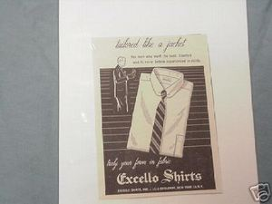 1956 Ad Excello Shirts Tailored Like A Jacket