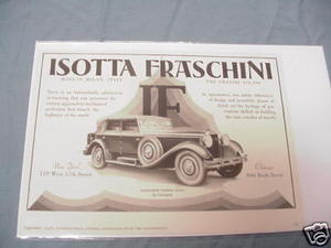 1928 Automobile Ad Isotta Fraschini Touring Sedan