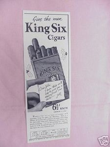 1939 Ad Give The Men King Six Cigars