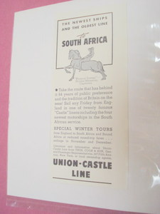 1937 Union-Castle Line Ad To South Africa