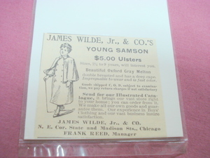 1893 James Wilde, Jr., & Co.'s Young Samson Overcoat Ad
