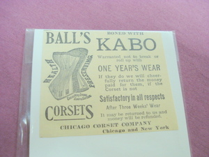 1893 Chicago Corset Company Illustrated Ad