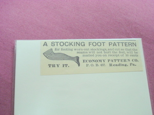 1893 Ad Stocking Foot Pattern Economy Pattern Co.