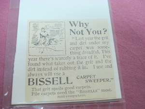 1893 Bissell Carpet Sweeper Illustrated Ad