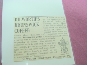 1893 Dilworth's Brunswick Coffee Ad Pittsburgh, Pa.