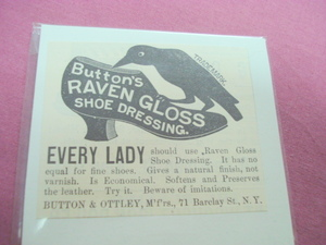 1889 Button's Raven Gloss Shoe Dressing Ad