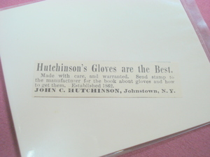 1889 Gloves Ad-John C. Hutchinson, Johnstown, N.Y.