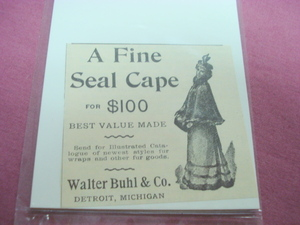 1893 A Fine Seal Cape Ad Walter Buhl & Co. Detroit