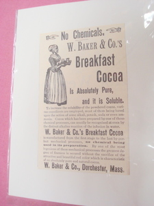 1889 Ad W. Baker & Co. Breakfast Cocoa Dorchester, Mass