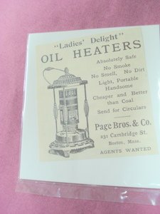 1893 Ladies' Delight Oil Heaters Ad Page Bros. & Co.