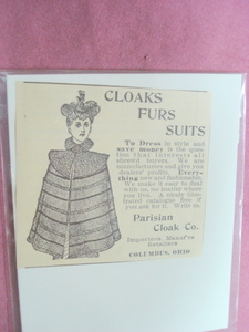 1893 Cloaks Furs Suits Ad Parisian Cloak Co. Columbus