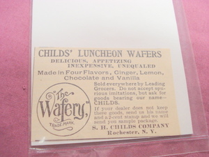 1893 Ad Child's Luncheon Wafers S. H. Childs Rochester
