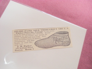 1893 The Arctic Sock J. H. Parker Illustrated Ad Boston