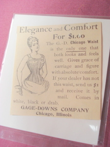 1893 G. D. Waist Corset, Gage-Downs Company Ad Chicago