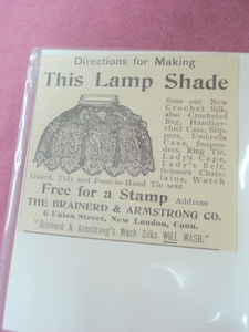 1893 Silk Lamp Shade Directions Ad Brainerd & Armstrong