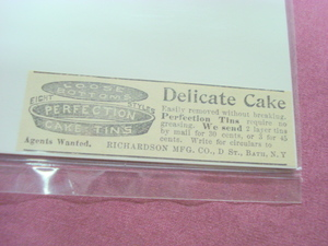 1893 Perfection Tins Ad Richardson Mftg., Bath, N. Y.