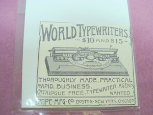 1889 Ad World Typewriters, Pope Mfg. Co., Boston