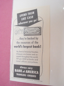 1951 Bank of America Traveler's Checks Ad