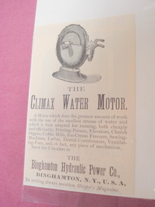 1889 Ad Climax Water Motor Binghamton Hydraulic Power
