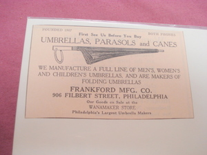 1924 Ad Frankford Mftg. Co. Umbrellas Philadelphia, Pa.