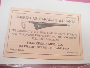 1923 Ad Umbrellas Parasols & Canes Frankford Mfg. Phila.